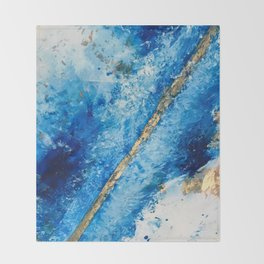 Blue Skies [2]: a pretty, abstract mixed-media piece in blue, gold and white Throw Blanket