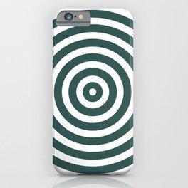Circles (Dark Green & White Pattern) iPhone Case