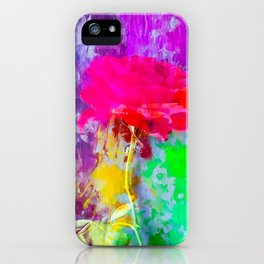red rose with pink purple blue green yellow painting abstract background iPhone Case