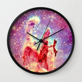 GALAXY : The Pillars of Creation Nebula Vibrant Warmth Wall Clock