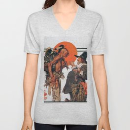 Thanksgiving, Indians To Negotiate With Pilgrim - Digital Remastered Edition Unisex V-Neck