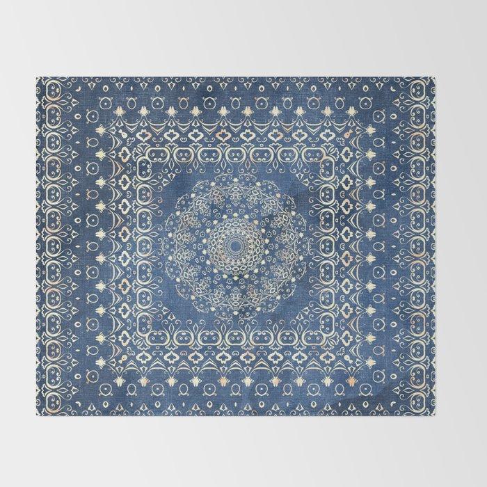 Old Bookshop Magic Mandala in Blue Throw Blanket
