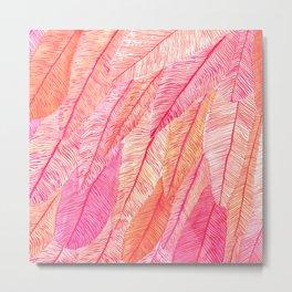 Blush Feathers Metal Print