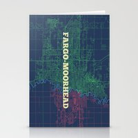 fargo Stationery Cards featuring Fargo-Moorhead Street Map by CartoPosters Maps