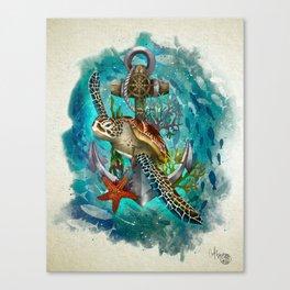 Turtle and Sea Canvas Print