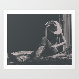 Cowgirl Sits in Country Shadows Art Print