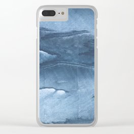 Gray Blue clouded wash drawing painting Clear iPhone Case