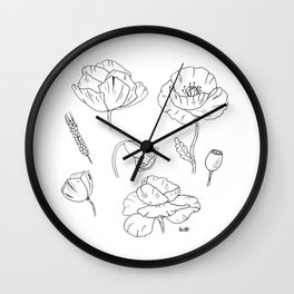 Black white poppy Wall Clock