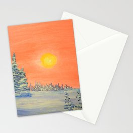 winter trees snow and sun . Stationery Cards