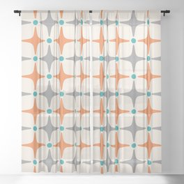 Mid Century Modern Star Pattern Grey and Orange Sheer Curtain