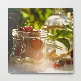 Fresh cherrie in glass Metal Print