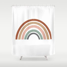 Rainbow earth tone cute kids room decor muted rainbow art print for nursery Shower Curtain