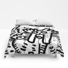 Street Art Graffiti Black and White on French Train Ticket Comforters