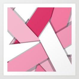 Flat Abstract Modern Design Vector Pattern breast cancer awareness  Art Print