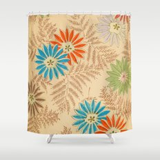 Japanese Vintage Flowers Pattern Shower Curtain