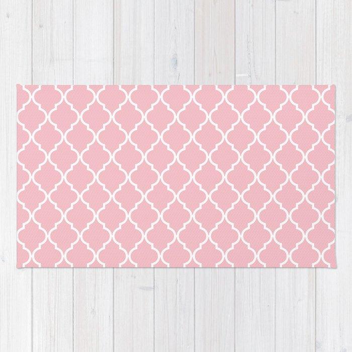 Moroccan Trellis, Latticework - Pink White Rug
