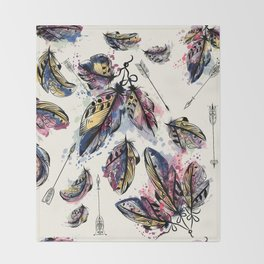 Be wild. Boho watercolor feathers. Fashion Throw Blanket