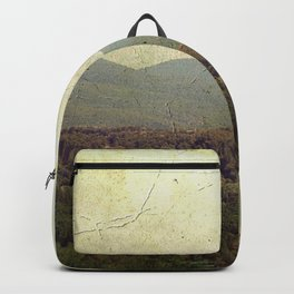Vintage river landscape and mountain Backpack