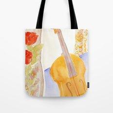 Violin and Roses Tote Bag