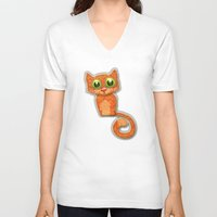 fabric V-neck T-shirts featuring Fabric Cat by Tatyana Adzhaliyska