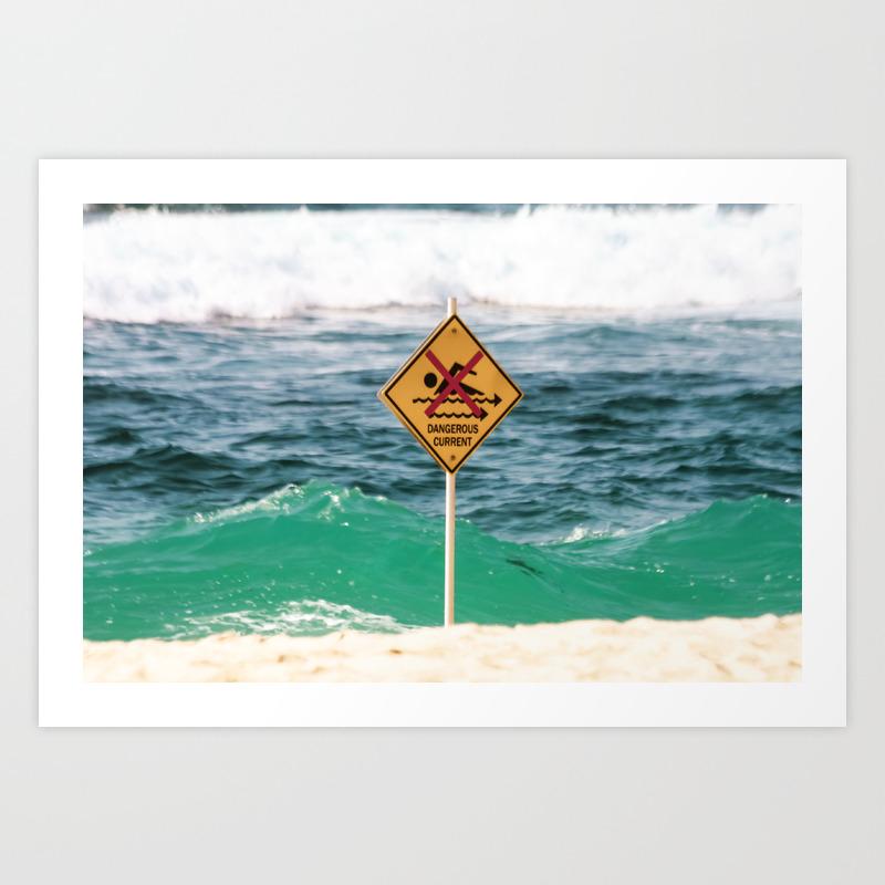 Sydney Australia. Danger Swimming Sign at Bronte Beach