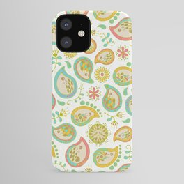 Hedgehog Paisley_Green outline iPhone Case