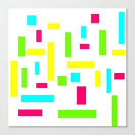 Abstract Theo van Doesburg Composition Neon on White Canvas Print