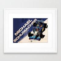 f1 Framed Art Prints featuring Michael Schumacher - F1 1995 by Evan DeCiren