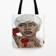 Girl with the Red Telephone Tote Bag