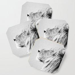 Lion Portrait - Black & White Coaster