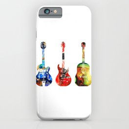 Guitar Threesome - Colorful Guitars By Sharon Cummings iPhone Case
