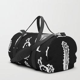 Black & White Monochromatic cactus pattern Duffle Bag