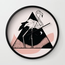 Flamingo in straight lines Wall Clock