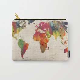 ALLOVER THE WORLD-Painted map Carry-All Pouch