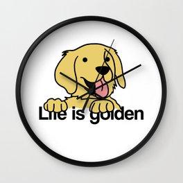Life is golden Retriever Dog Puppy Doggie Present Wall Clock