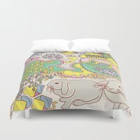 rabbits Duvet Covers featuring Rabbits by Raewyn Haughton