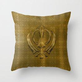 Vintage metal gold Khanda symbol Throw Pillow