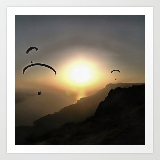 Paragliders Flying Without Wings Art Print