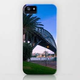 Sydney Harbour Bridge perspective at sunset. iPhone Case