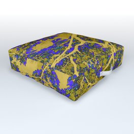 Colourful blue and yellow trees Outdoor Floor Cushion