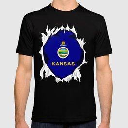 Kansas Jersey   Gift for Kansan, Jayhawk, KS Native Home State Flag T-shirt