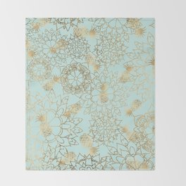 Modern teal faux gold pineapple floral illustration Throw Blanket