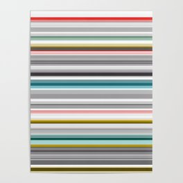 grey and colored stripes Poster