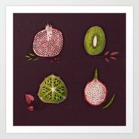 fruits Art Prints featuring Fruits by Oilikki