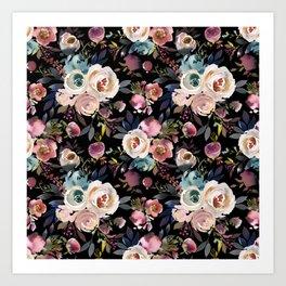 Blush Pink Peonies with Black Art Print