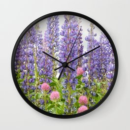 Lupine and Clover Portrait Wall Clock