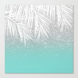 Modern tropical white palm tree silver glitter ombre on robbin egg blue turquoise Canvas Print