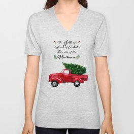 The Jolliest Bunch - Funny Holiday Watercolor Painting Unisex V-Neck