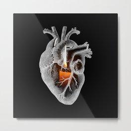 Flaming Heart Metal Print