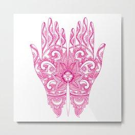 Mehndi Tattoo Hands | Ethnic Tattoos | Henna Tattoos | Tattoo Art | Hot Pink | Metal Print